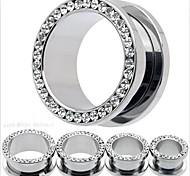 Mode Edelstahlschraube punky Ohrstöpsel Flesh Tunnel Messgeräte Piercing Körperschmuck eine Reihe von 2 12 mm