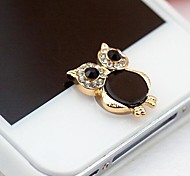 Rhinestone Owl Home Button Sticker for iPhone