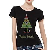 personalisierte Strass T-Shirts Weihnachten Dachmuster Frauen Baumwolle Kurzarm