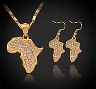 u7® mapa africano plateado oro verdadero 18k colgante de diamantes de imitación conjunto de collar pendientes