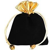 Gold-Rimmed Velvet Gift Bags Black (1Pc)