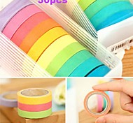 50X Beautiful Decorative Washi Rainbow Sticky Paper Masking Adhesive Tape Scrapbooking DIY for School
