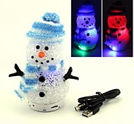 SBP18 Mini Lighting Crystal Snowman Gift Speaker Bluetooth 3.0 with Microphone/ TF Cards/Radio/AUX