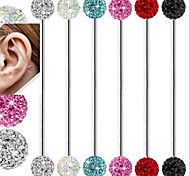 Stainless Steel Long Shamballa Disco Ball Industrial Earring Barbell Ear Stud Piercing Body Jewelry