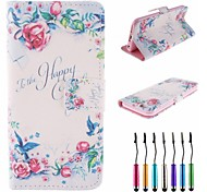 """""""To The Happy Couple"""" Words Flowers Birds Pattern PU Leather Full Body Case with Touch Pen for iPhone 6"""
