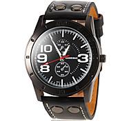 Men's Round Dial PU Band Quartz Sport Watch (Assorted Colors)