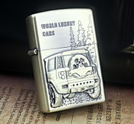 Earth Gold Car Pattern Metal Relief Oil Lighter  Style Random
