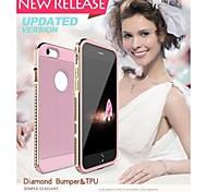 luphie diamante de metal de alumínio pára-choques com TPU Capa para iPhone 6 Plus (cores sortidas)