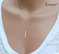 Eruner® Simple Geometric Rectangular Metal Tassel Chain Short Necklace
