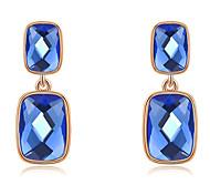 Roxi® Rose Blue Czech Retangle Shape Big Size Stud Earring