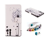 Dust Plug and Dandelion PU Leather Full Body Case with Card Slot and Stand for iPhone 6