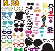 58 pcs stand de papel tarjeta de la foto de los apoyos divertido del favor de fiesta (gafas&sombrero&bigote&sombrero