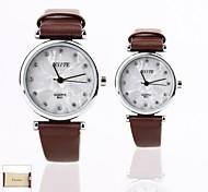presente personalizado caixa branca nova do casal estilo pu leatherband quartzo analógico relógio de pulso gravado