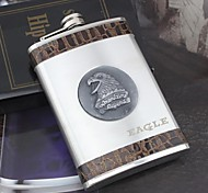 Personalized Gift Silver 9oz  Stainless Steel Hip Flask - Eagle
