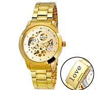 Personalized Gift Men's Casual Watch Gold Dial Stainless Steel Strap Engraved Watch