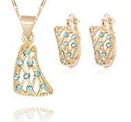 Z&X® European Style 18K Gold Plated Hollow Rhinestone Pendant Necklace Earrings Jewelry Set (1 set)