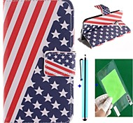 The American Flag Design PU Leather Full Body Case with Screen Protector, Stylus and Stand for Motorola moto X