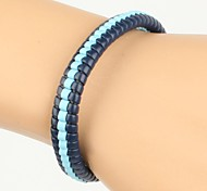 High Fashion Hard Middle Line Leather Bracelet Dark and Light Blue(1 Piece)