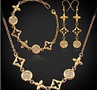 plateado u7® europeo marca de lujo oro verdadero 18k austríaco de la joyería de diamantes de imitación