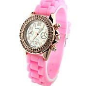 Women's Diamond Fashion Dial Silicone Band Quartz Wrist Watch(Assorted Colors)