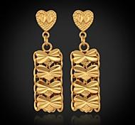 u7® pendientes corazón plateado oro 18k 4 hojas aretes de mariposa de la manera regalo pendientes de la gota de la joyería para las mujeres