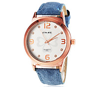 Women's Gold Case Clover Pattern Dial PU Band Quartz Wrist Watch (Assorted Colors)