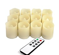 Set of 12 Ivory Color Plastic Flameless LED Votive Candles with Remote and Timer