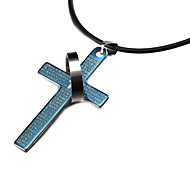 Fashion Cross And Round Black Stainless Steel Pendant Necklace(1 Pc)