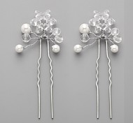 Luxurious Alloy Hand-made Flowers with Rhinestone Wedding Bridal Headpieces-Set of 2