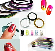 12PCS 12-Color Striping Tape Line Nail Stripe Tape Nail Art Decoration Sticker
