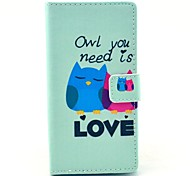 Owl You Need Love Pattern PU Leather Full Body Cover with Card Slot for Nokia Lumia N830