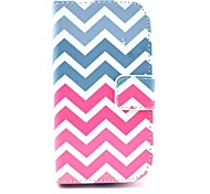 Pink Wave Pattern PU Leather Case with Card Slot and Stand for Samsung Galaxy S3 mini I8190