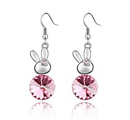 Shy Rabbit Women's Luxury Drop Earring Plated With 18K True Platinum Rose Crystallized Austrian Crystal Rhinestone