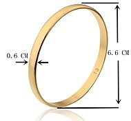 6.6cm Width TB Smooth Gold Plated Golden Bangle M Size(1 Piece)