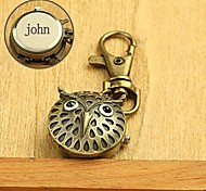 liga presente coruja gravado personalizado em forma de fivela chave