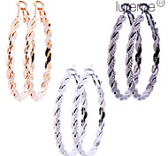 Lureme®4cm Alloy Twisted Earrings Set(3 pairs per Set)