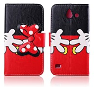 Naughty Hands Pattern PU Leather Full Body Cases with Stand for Huawei Ascend Y550