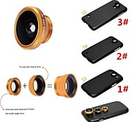 Apexel 3 in 1 Wide Angle Lens /Macro Lens/180 Fish Eye Lens with Back Case for Samsung Galaxy S3/S4/S5((Assorted Colors)
