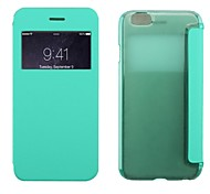 Stylish Flip Open PC + PU Case w/ Display Windown for iPhone 6 (Assorted Colors)