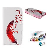 Red Feather PU Full Body Case With The Dustproof Plug with Card Slot and Stand for iPhone 4/4S