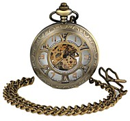 Unisex Hollowed Six Flower-Shaped Round Dial Alloy Waistchain Mechanical Pocket Watch Green Patina  (1Pc)