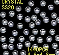 1440Pcs 4.6-4.8mm White Color Glitter Flatback Crystal Rhinestone Nail Art Decoration