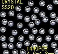 1440pcs 4.6-4.8mm brillo de color blanco cristalino del rhinestone flatback decoración del arte del clavo