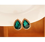 Water Drop  Gemstone  Flash Diamond Earrings #63-1