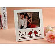 Personalized Framed Photo 7 Inches Lovebirds Design White Wooden Frame with Stand 1 Photo
