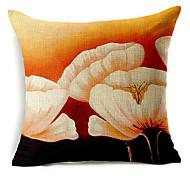 большой белый цветочный узор хлопок / лен декоративная подушка крышка