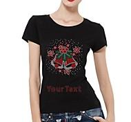 personalisierte Strass t-shirts Weihnachtsglocken Baumwollkurzschlußhülsen Musterfrauen