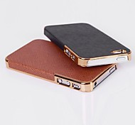 Cross Grain Leather Back Cover Case for iPhone 4/4S (Assorted Colors)