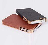 cuero de grano cruz caso de la contraportada para el iphone 4 / 4s (colores surtidos)