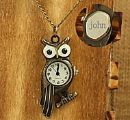 Personalized Gift Alloy Owl Design Engraved Pocket Watch with 78cm Chain Necklace